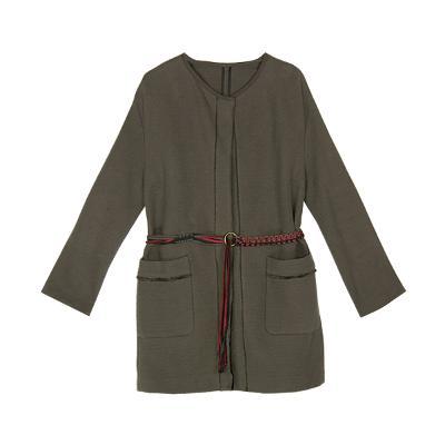 belted jacket khaki